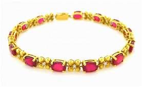 VINTAGE ESTATE 14K YELLOW GOLD RUBY & DIAMOND BRACELET