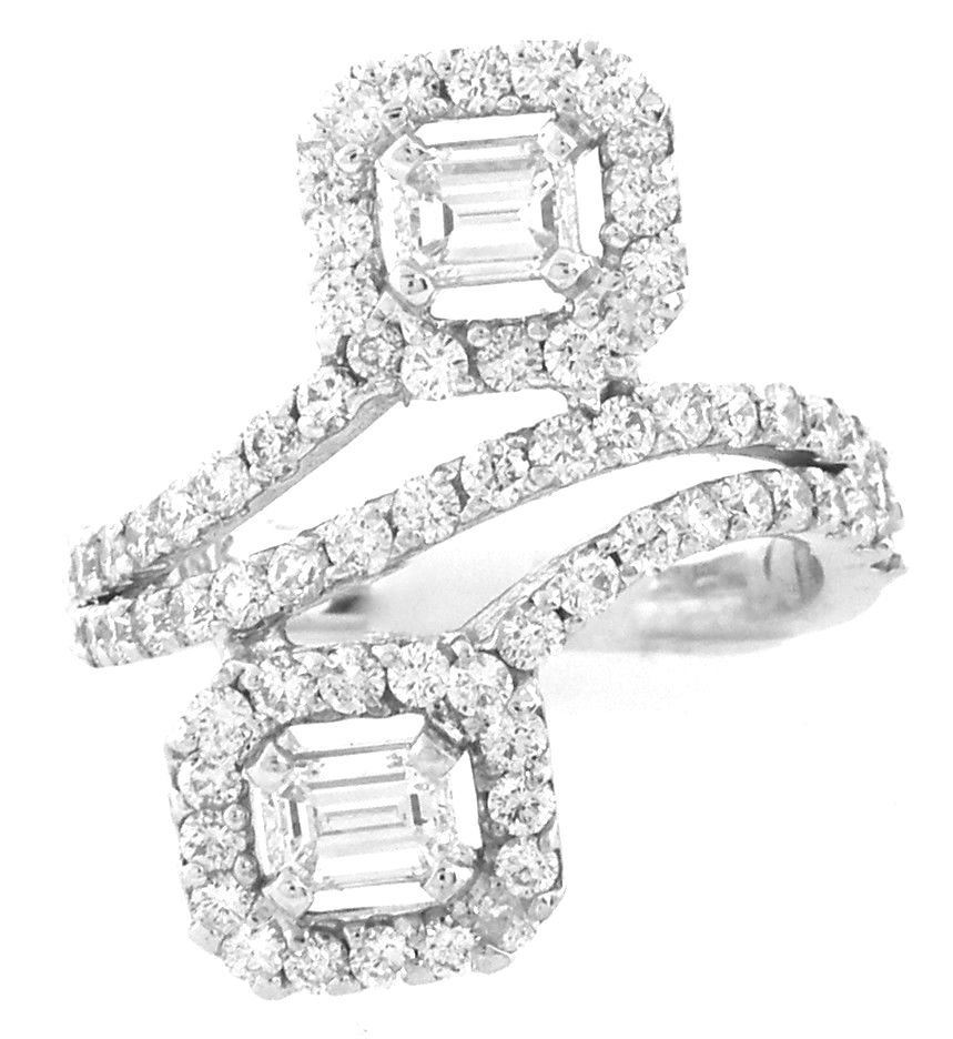 NEW 18K WHITE GOLD DIAMONDS COCKTAIL RING EMERALD