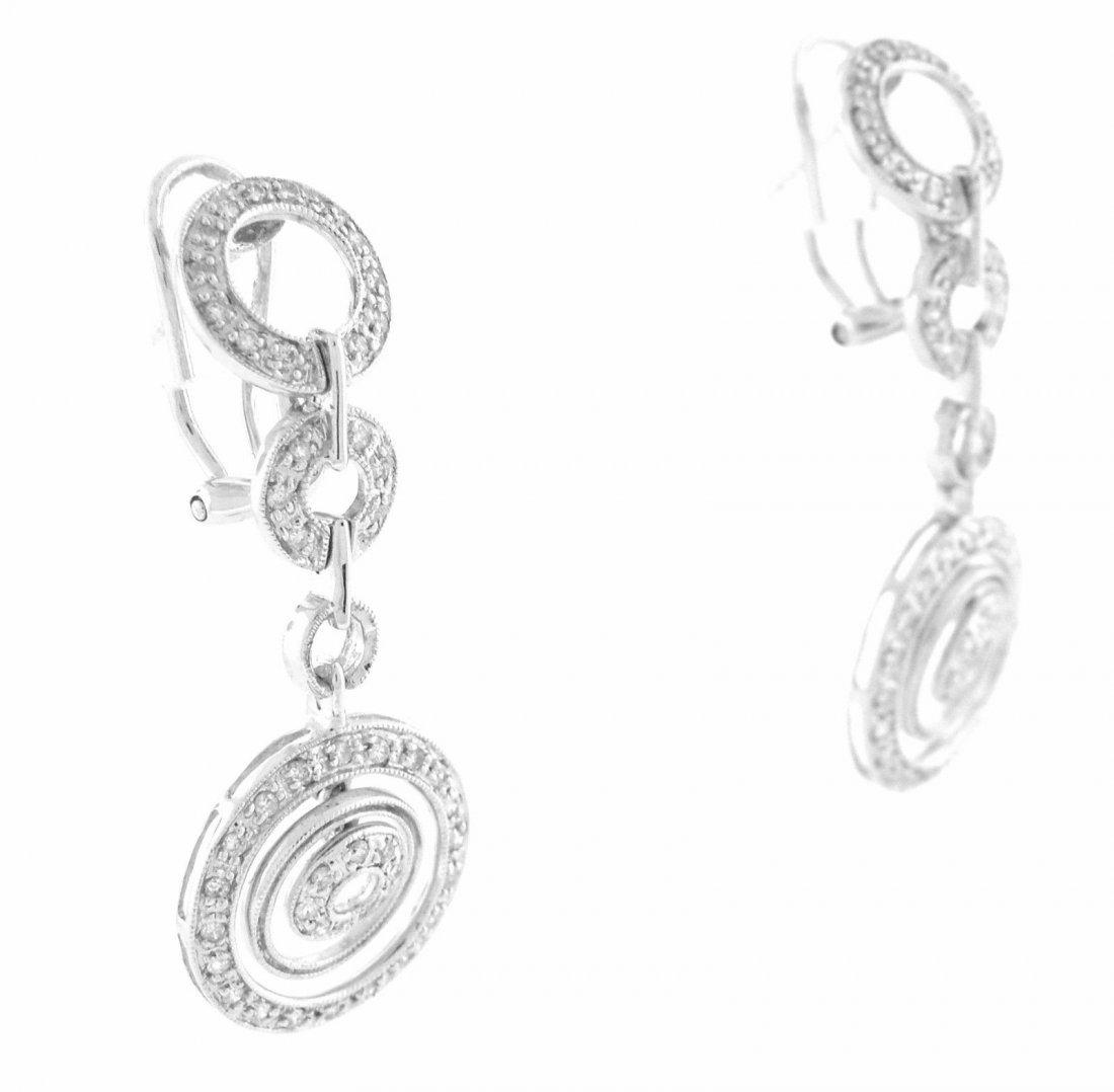 NEW 14K WHITE GOLD DIAMOND CHANDELIER EARRINGS