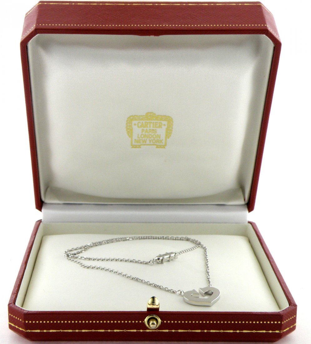 CARTIER 18K WHITE GOLD HEART C NECKLACE WITH BOX
