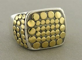 Authentic John Hardy 18k Silver Mens Signet Ring
