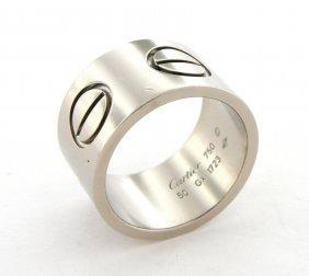 Cartier 18k White Gold Ladies Wide Love Screw Ring