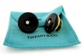 Tiffany & Co. 18k Yellow Gold Onyx & Diamond Cufflinks