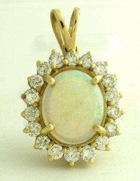 New 14k White Gold Diamond Opal Pendant