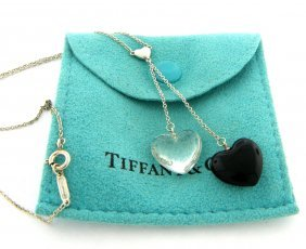 Tiffany & Co. Silver Onyx Crystal Heart Necklace