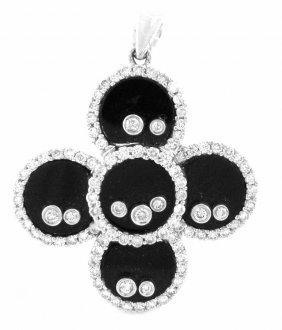 New 18k White Gold Diamond Black Onyx Pendant