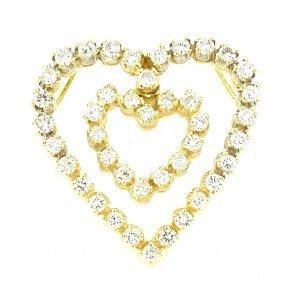 Vintage 14k Yellow Gold Diamond Double Heart Pendant