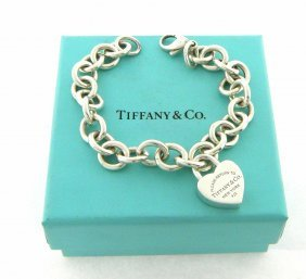 Tiffany & Co. S/ Silver Heart Lock Padlock Bracelet