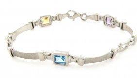 New 14k White Gold Multi Stone Amethyst Bracelet