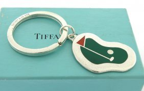 Vintage Tiffany & Co. Sterling Enamel Golf Keyring