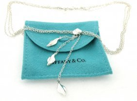 Tiffany & Co. S/ Silver Three Leaf Dangle Necklace