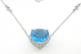14k White Gold Diamond London Blue Topaz Heart Necklace