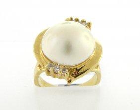 New 14k Yellow Gold Diamond Ladies Pearl Ring
