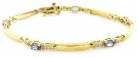 14k Yellow Gold Diamond Tanzanite Tennis Bracelet