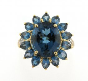 10k Yellow Gold Diamond & Blue Topaz Flower Ring