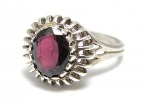 Vintage Sterling Silver Garnet Cocktail Ring
