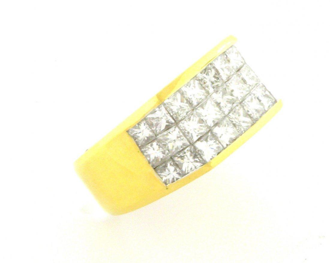 18K YELLOW GOLD PRINCESS DIAMOND MEN'S RING 4CT G VS