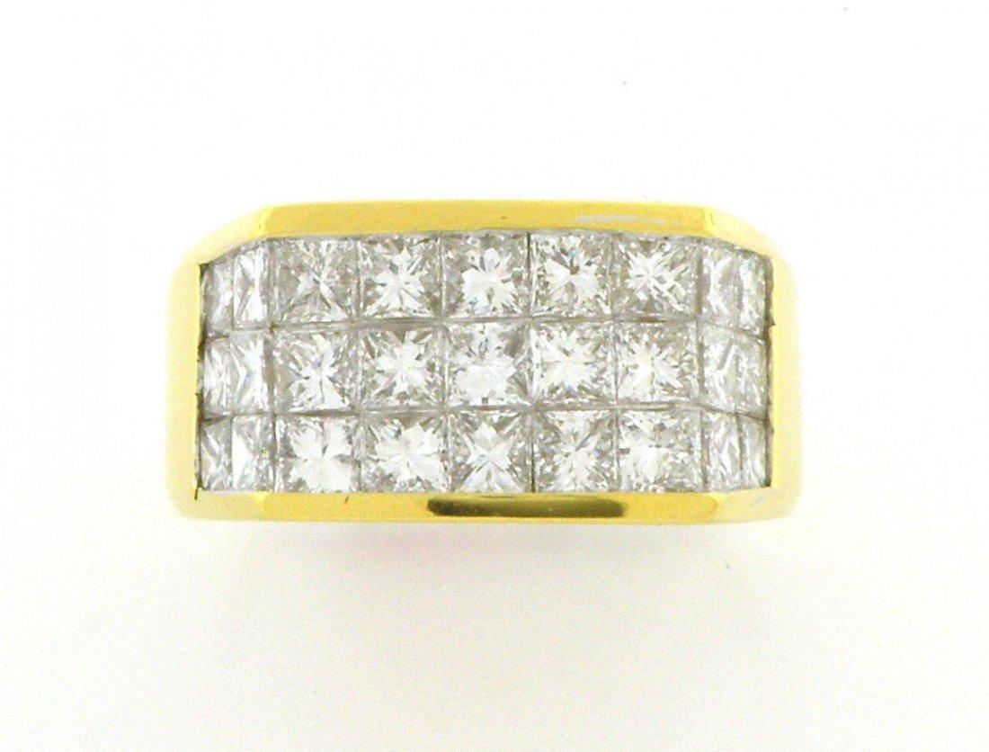 18K YELLOW GOLD PRINCESS DIAMOND MEN'S RING 4CT G VS - 2