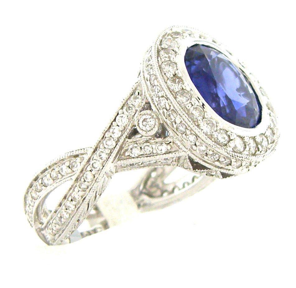 NEW 18K WHITE GOLD DIAMOND BLUE SAPPHIRE COCKTAIL RING - 2