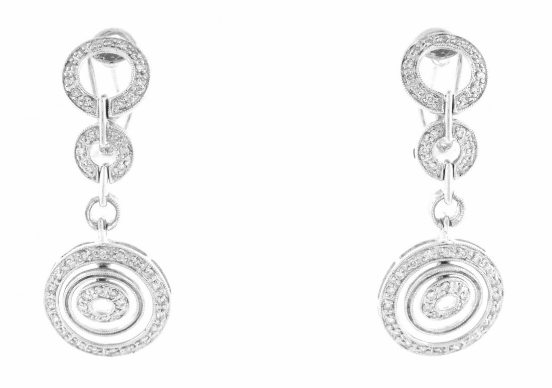 NEW 14K WHITE GOLD DIAMOND CHANDELIER EARRINGS - 2