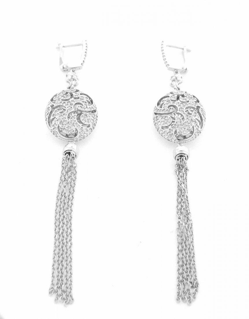 NEW 18K WHITE GOLD DIAMOND CHANDELIER TASSLE EARRINGS - 2