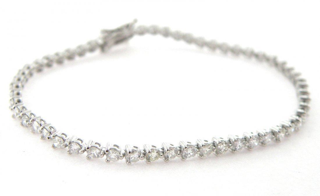 NEW 3ct 14K WHITE GOLD DIAMOND TENNIS LINE BRACELET - 2