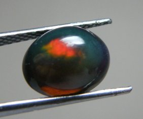 1.31ct African Black Opal Oval Cabochon Untreated