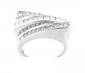 14k White Gold Princess & Round Diamond Ring
