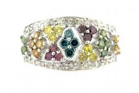 New 14k White Gold Multi-colored Diamond Ladies Ring