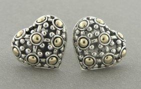 John Hardy 18k Silver Heart Dot Earrings