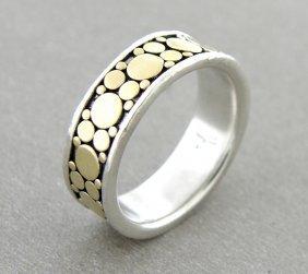 John Hardy 18k Silver Wedding Band Ring Size 6