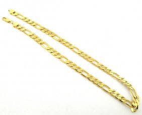 """New 14k Yellow Gold Figaro Solid Chain Necklace 7mm 18"""""""