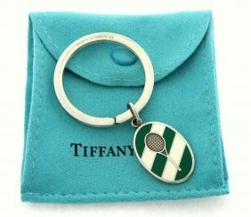 Vintage Tiffany & Co. Silver Enamel Tennis Keyring