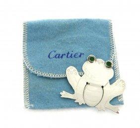 Cartier Enamel Sterling Silver Frog Bookmark