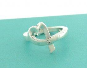 Tiffany & Co. S/ Silver Diamond Loving Heart Ring