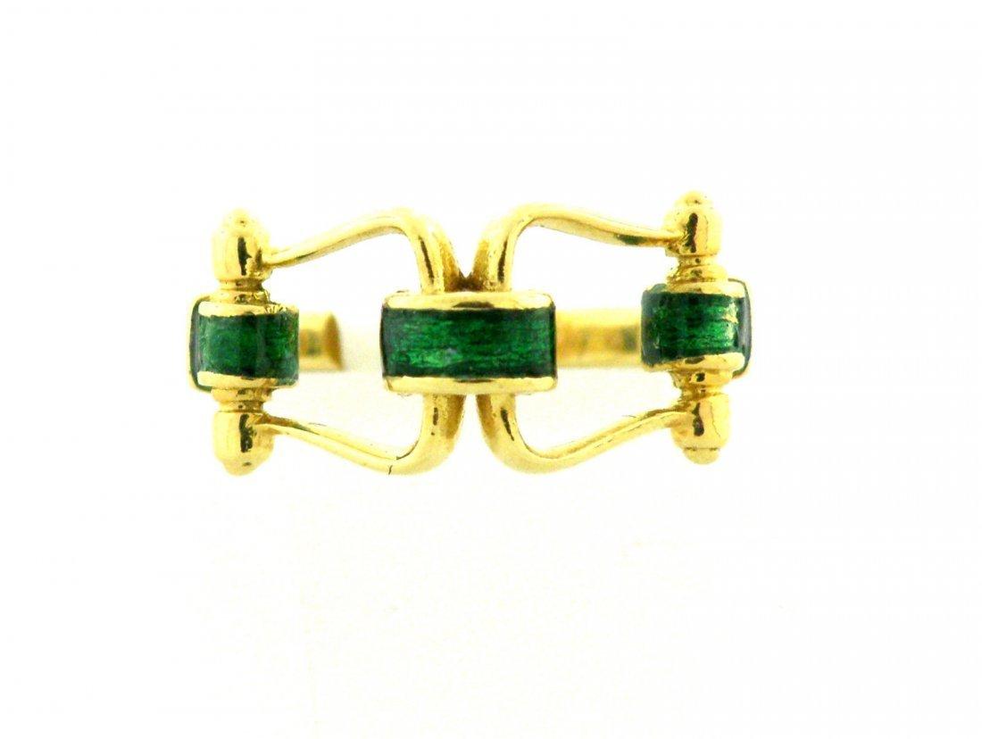 VINTAGE 18K YELLOW GOLD LADIES GREEN ENAMEL BUCKLE RING