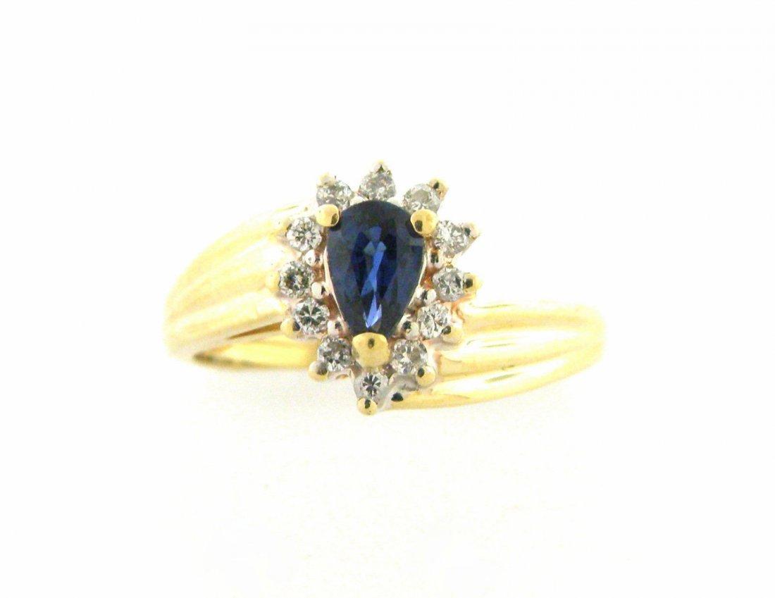 NEW 14K YELLOW GOLD DIAMOND BLUE SAPPHIRE RING
