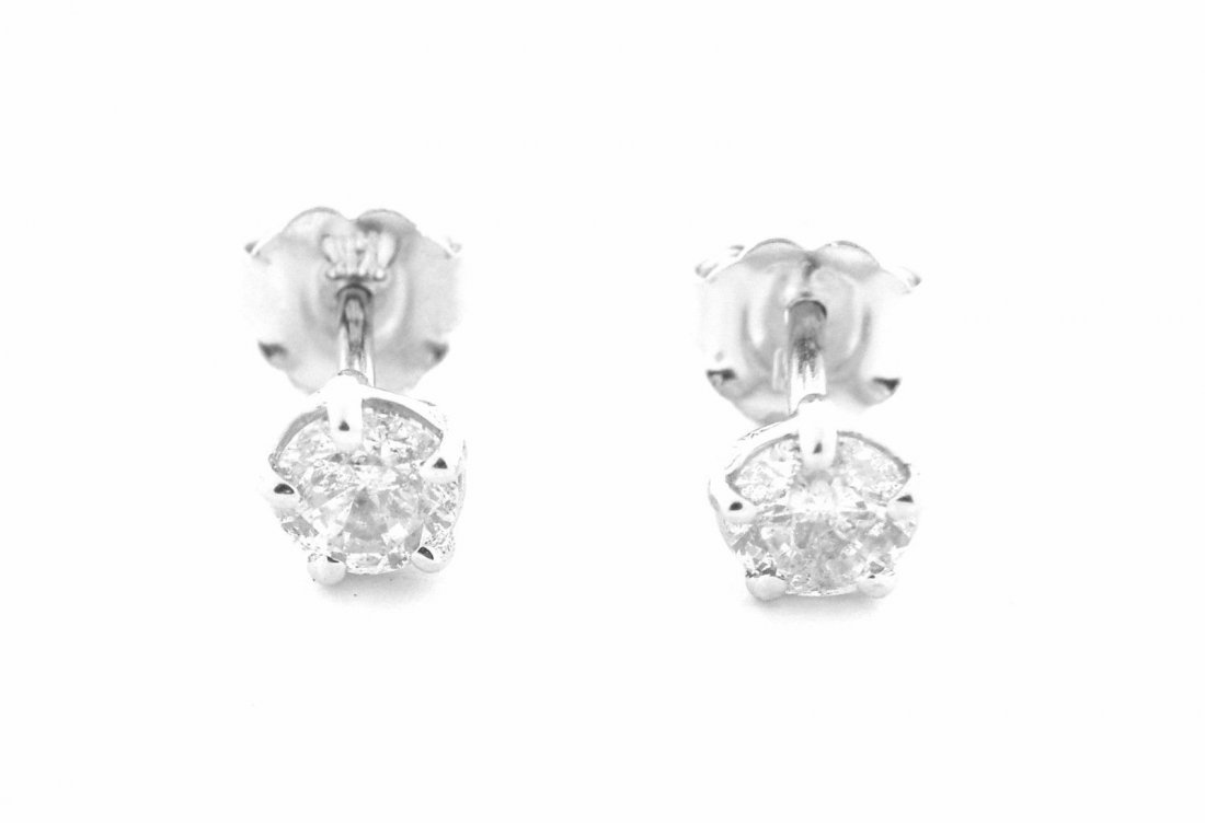 14K W/GOLD DIAMOND ROUND CUT STUD EARRINGS 0.50ct