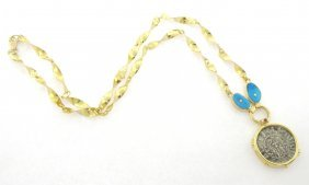 18k Yellow Gold Coin Chain Necklace With Turquoise