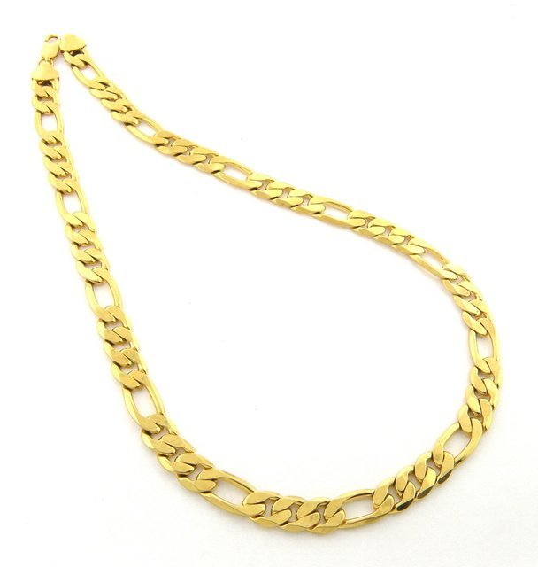 NEW 14K Y/ GOLD FIGARO SOLID CHAIN NECKLACE 13mm 22""