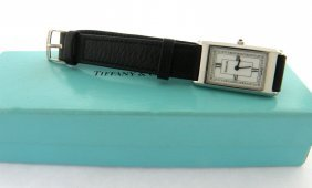 Tiffany & Co. Ladies Atlas Watch Leather Strap With Box