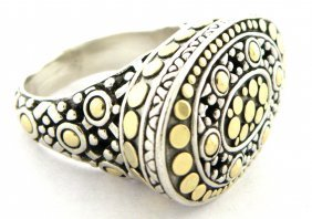 Authentic John Hardy 18k Silver Huge Cocktail Dot Ring