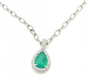 New 18k White Gold Diamond Ladies Emerald Necklace