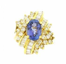 New 14k Yellow Gold Diamond & Tanzanite Cluster Ring