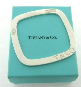 Tiffany & Co. Sterling Silver 1837 Square Bangle
