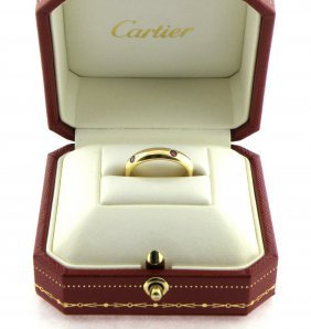 Cartier 18k Yellow Gold Eternity Ruby Ring