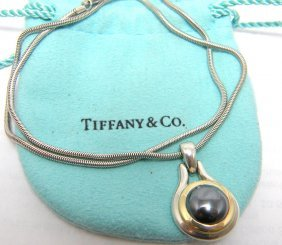 Tiffany & Co. 18k Silver Hematite Necklace