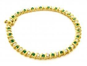14k Yellow Gold Diamond Emerald Ladies Tennis Bracelet