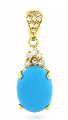 New 14k Yellow Gold Diamond Turquiose Pendant