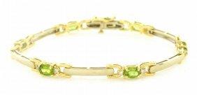 14k Yellow Gold Diamond Peridot Ladies Tennis Bracelet